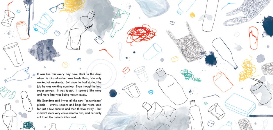 Beach clean, ocean plastic, children's' book illustration, Ewelina Wajgert