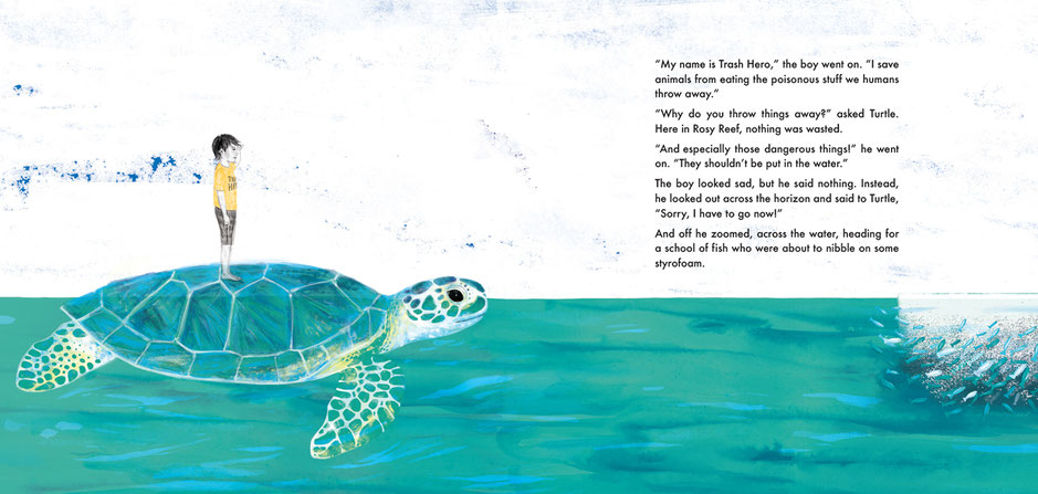 Ocean children's' book illustration, turtle, Ewelina Wajgert