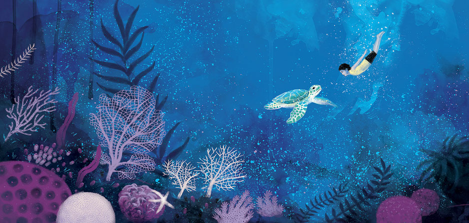 Ocean children's' book illustration, Ewelina Wajgert