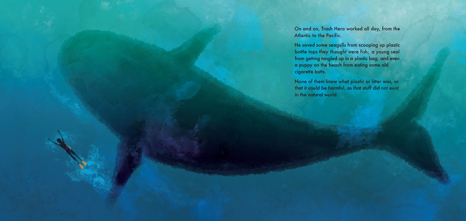 Whale shark children's' book illustration, Ewelina Wajgert