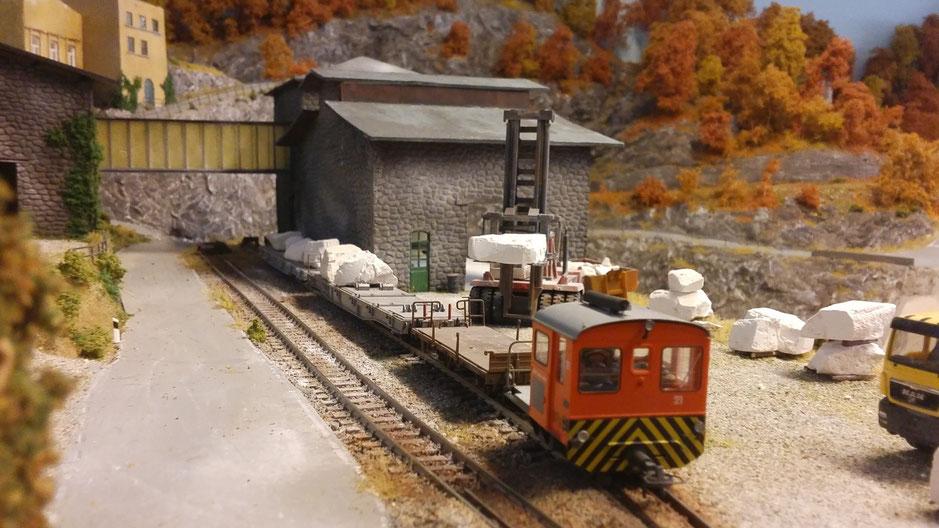 Anschlussbedienung, tm 2/2 rangieren bemo schmalspurbahn marmor rangierdienst modellbahn