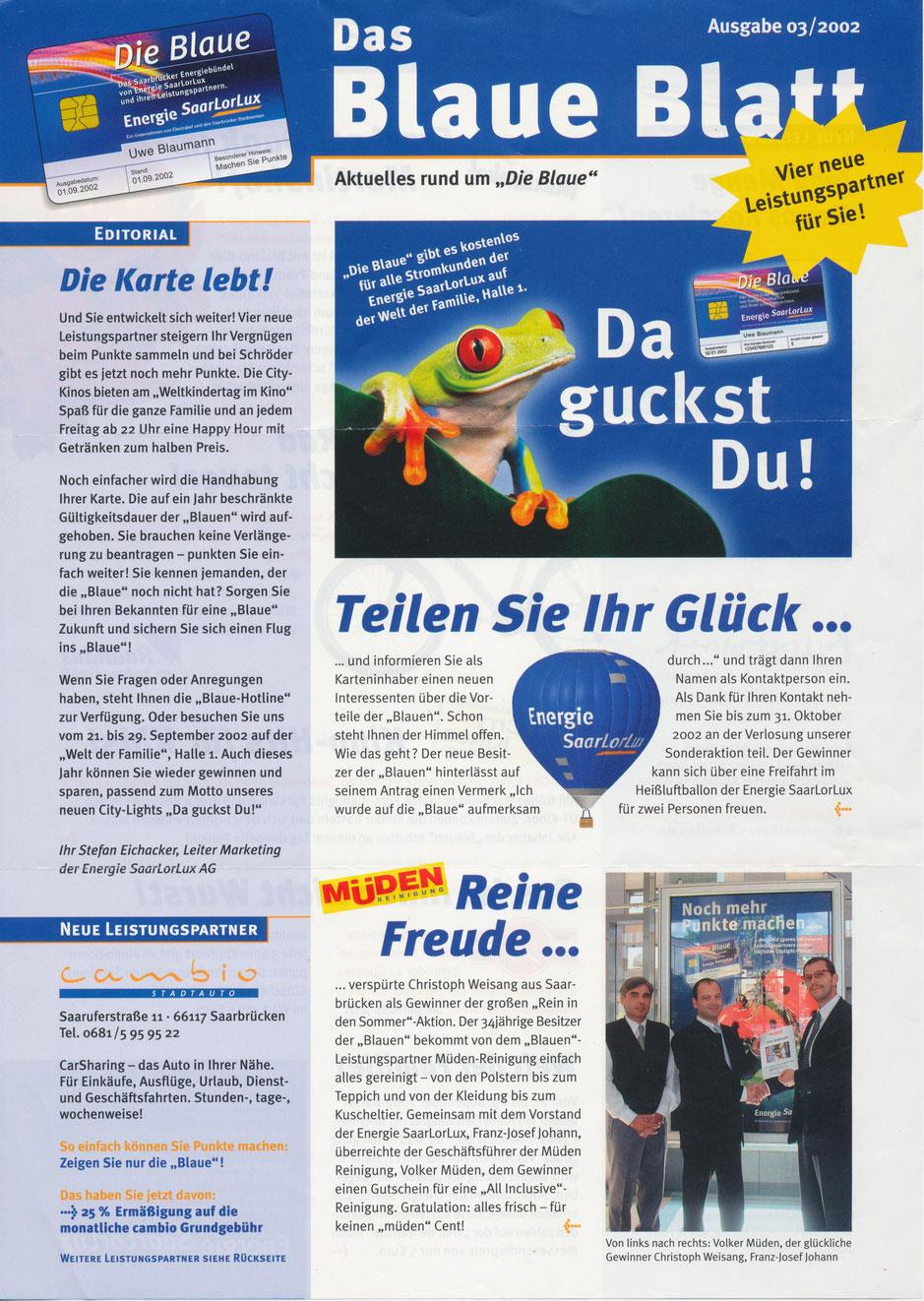 BLOG 03.2002, Das Blaue Blatt, Gewinnübergabe Volker Müder und Christoph Weisang