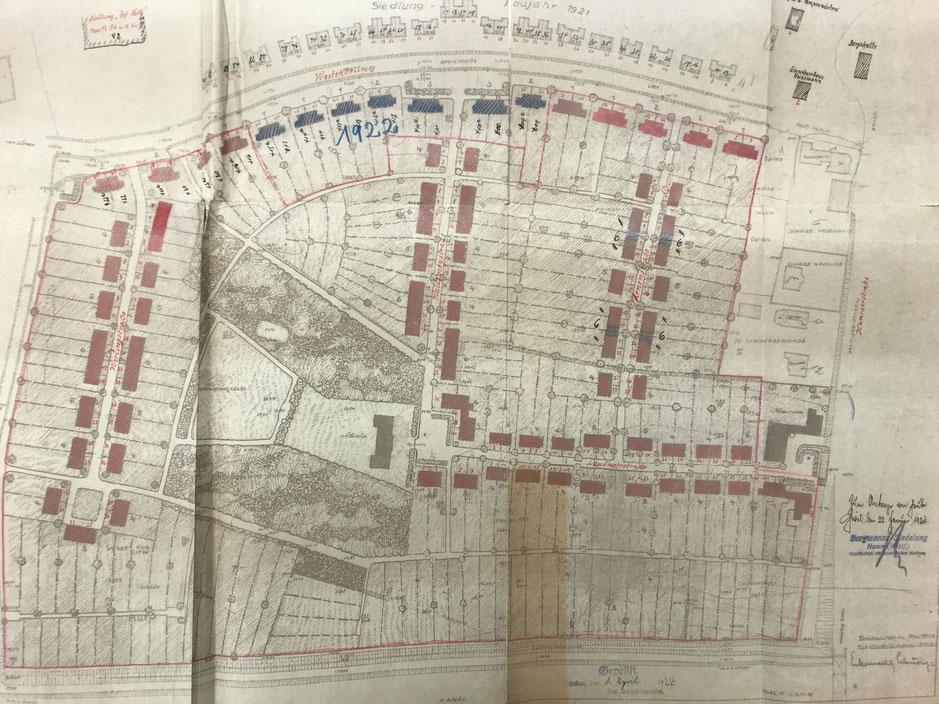 Bauplan für die Siedlung Rünthe-West aus dem Jahre 1922.