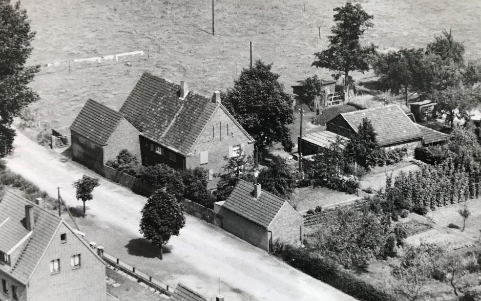 Kohlehandlung Hoffmann in der Kanalstraße in Rünthe. (Luftbild: Privatbesitz Karl-Friedrich Hoffmann)