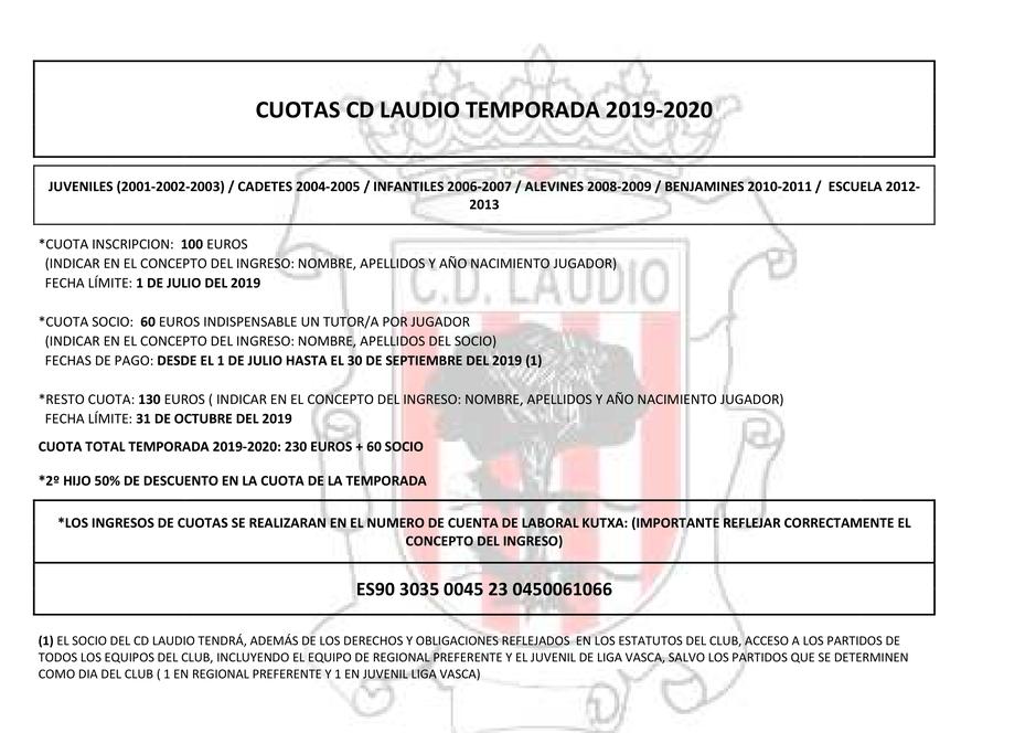 Calendario Laboral Alava 2020.Cuotas Cd Laudio 2019 20 Web Oficial Del Club Deportivo Laudio
