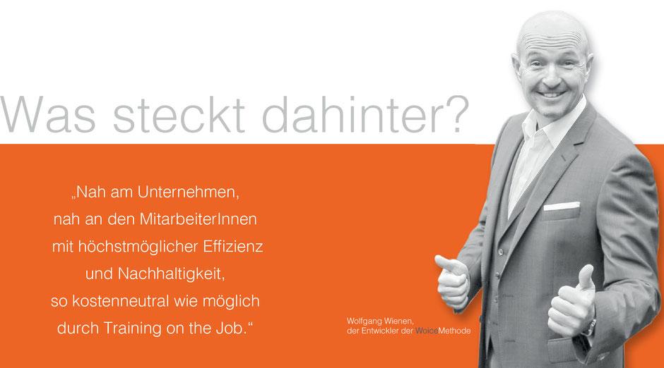 Nah am Unternehmen, nah am Mitarbeiter, höchstmögliche Effizienz und Nachhaltigkeit, kostenneutral ... WoiceMethode von Wolfgang Wienen