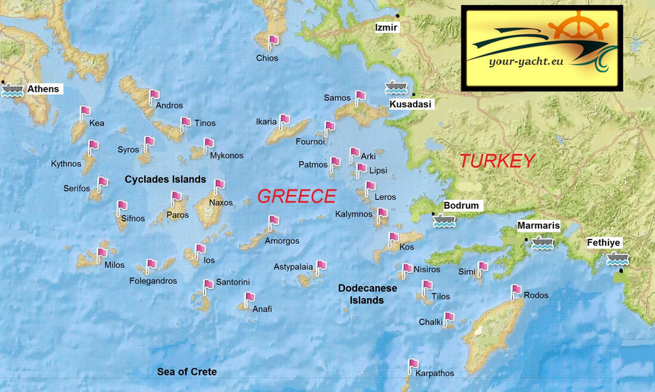 your-yacht.eu map southern aegean greek islands turkey dodecanese cyclades islands
