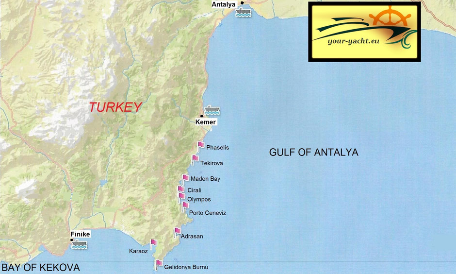 your-yacht.eu map kemer kekova gulf of antalya