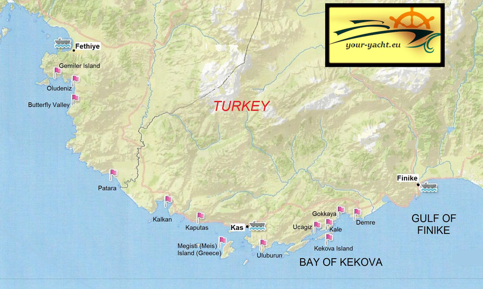 your-yacht.eu map fethiye to finike kekova