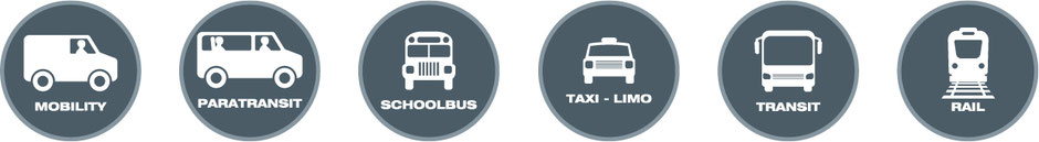 Icons of different mobility options: Paratransit, schoolbus, taxi, transit and rail
