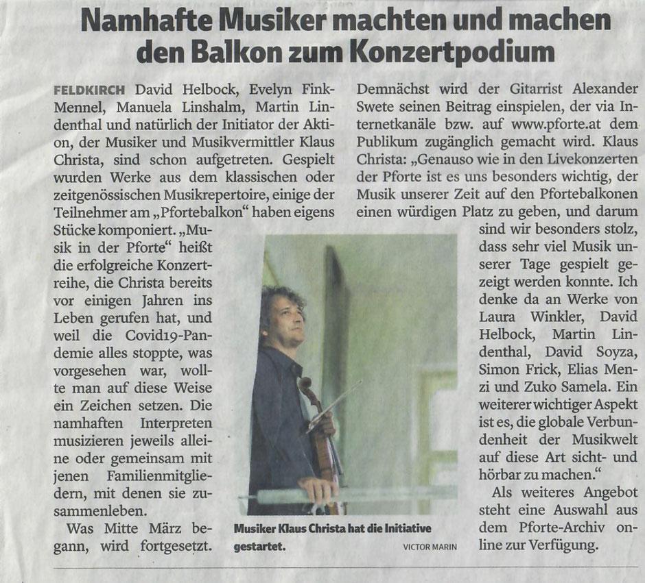 Vorarlberger Nachrichten, 25. April 2020