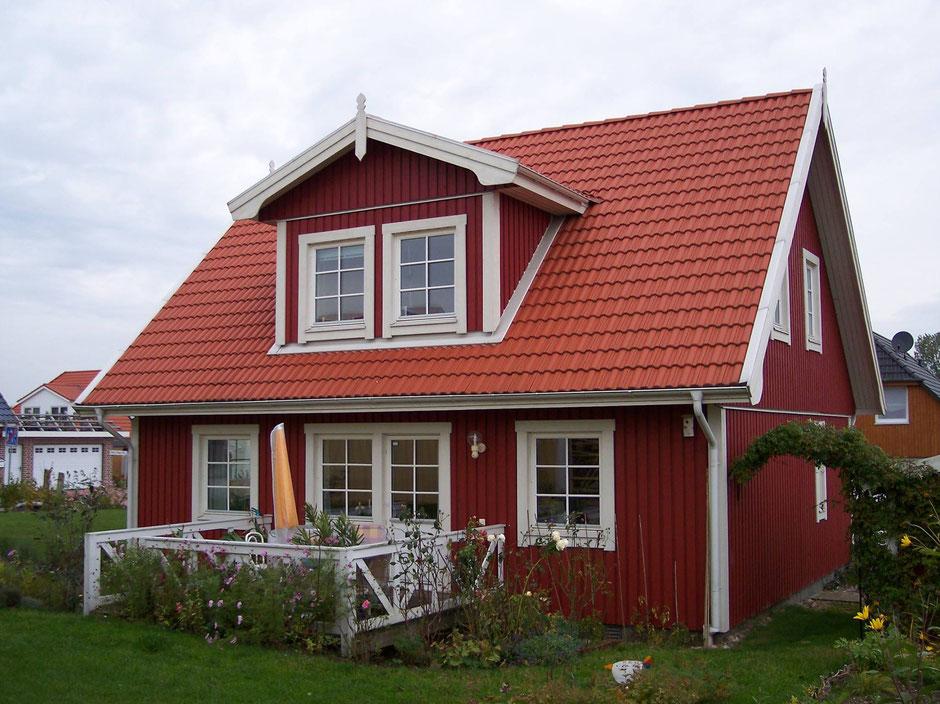 Referenz Holzhaus Modell Nordkap 110 Aussenansicht Schwedenhaus
