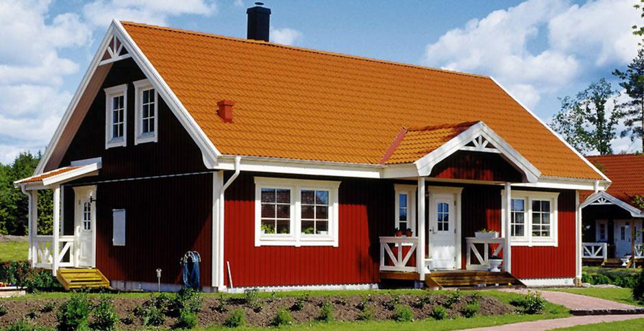 Schönes rotes Schwedenhaus hier Modell Malmö 145 Holzhaus von Berg-Schwedenhaus