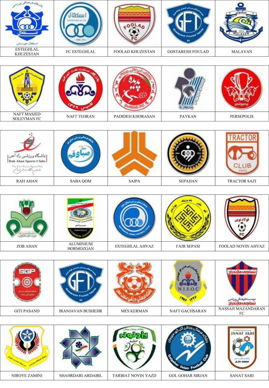 equipos futbol iran