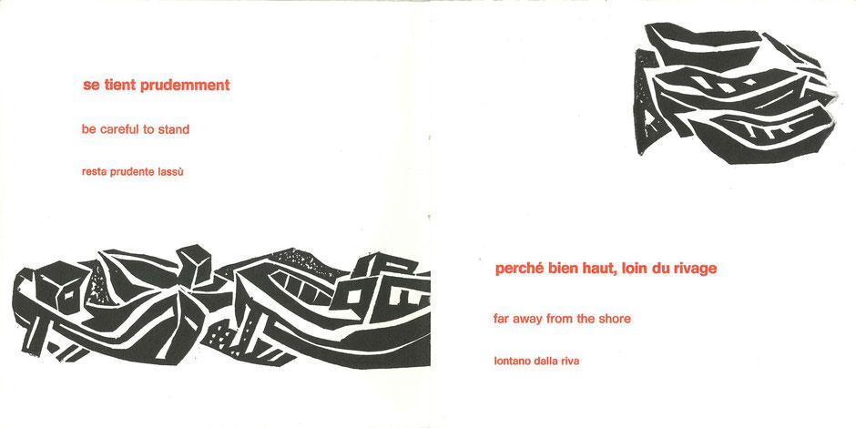 pagine con stampa tipografica in rosso e linoleum originali