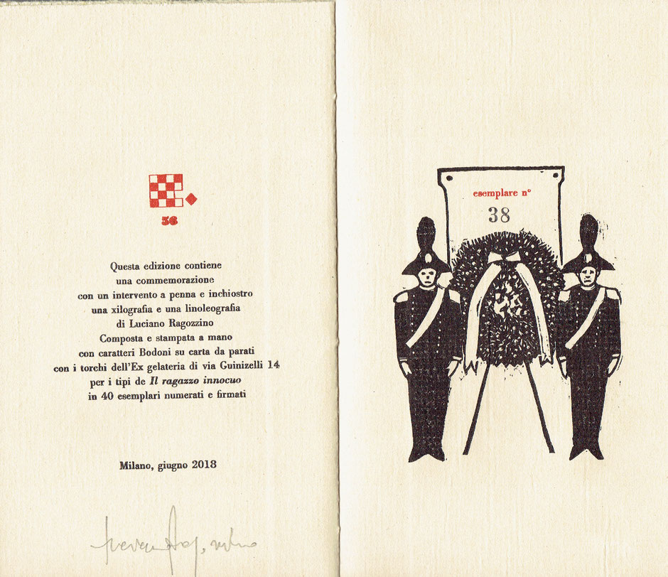 colophon numerato e firmato con linoleografia originale dell'autore