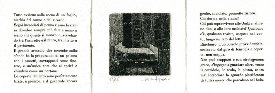 pagina centrale tripla con testo tipografico e acquaforte originale di Luciano Ragozzino numerata e firmata
