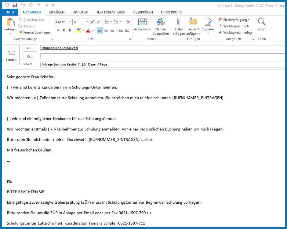 Nach dem Klick ins Bild sehen Sie dieses Bild (Outlook Email senden) | zur Buchungsanfrage Schulung Kapitel 11.2.5 AEO & bV  SchulungsCenter der Bouché Air & Sea GmbH