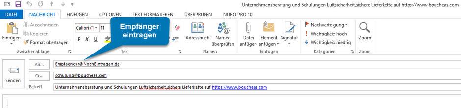 Bild OUTLOOK: Ansicht nach Klick auf Empfehlung für boucheas.com geben
