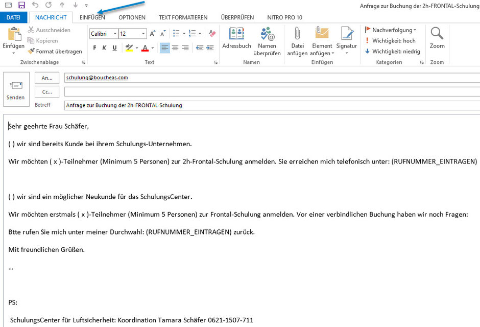 Bild: Buchungsanfrage 2h-Frontal-Schulung in OUTLOOK | AEO & bV  SchulungsCenter der Bouché Air & Sea GmbH