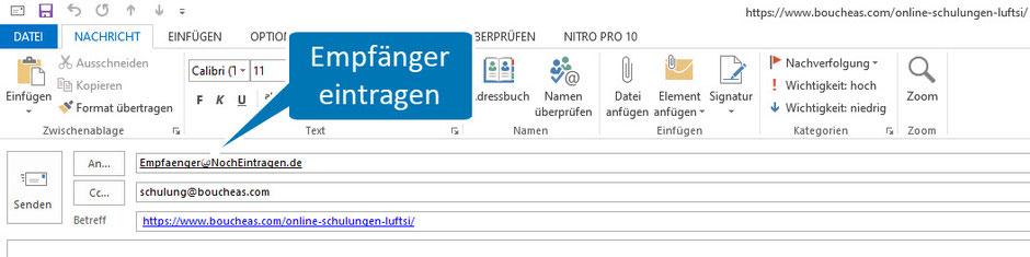 Bild Outlook nach Klick auf mailto:Empfaenger@NochEintragen.de?cc=schulung@boucheas.com&subject= https://www.boucheas.com/online-schulungen-luftsi/