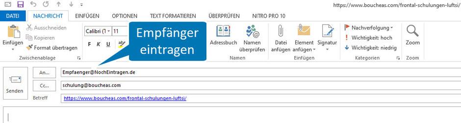 Bild Outlook nach Klick auf mailto:Empfaenger@NochEintragen.de?cc=schulung@boucheas.com&subject= https://www.boucheas.com/frontal-schulungen-luftsi/