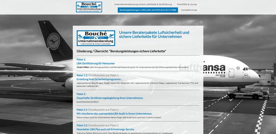 Bild: Übersicht Beraterpakete Luftsicherheit, sichere Lieferkette | Bouché Air & Sea GmbH