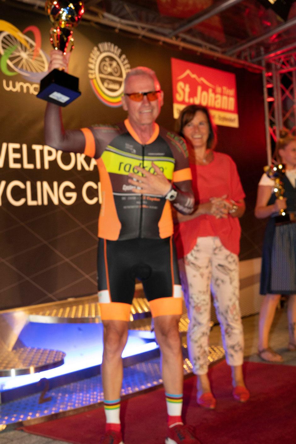 >Bernd John vom kmo Master Team wurde beim Radweltpokal in St. Johann 4ter seiner AK im Einzelzeitfahren<