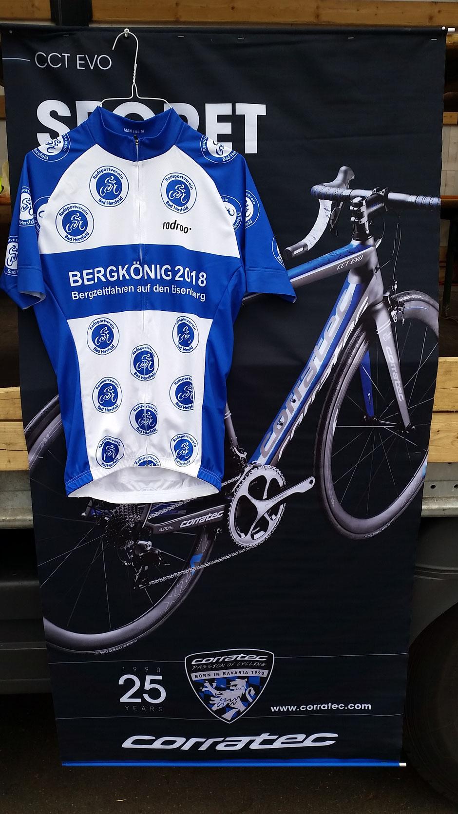 >Das Bergzeitfahren Eisenbergkönig mit Hessenmeisterschaften, erfolgreich vom RSV Bad Hersfeld organisiert; die schnellsten erhielten ein ganz besonderes Trikot überreicht. <