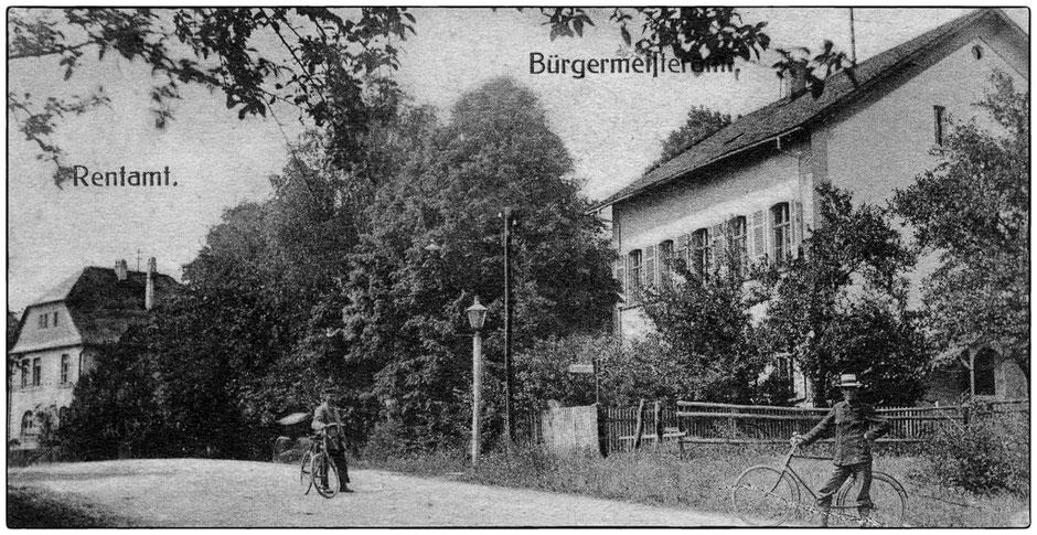 Bürgermeisteramt und Rentamt in der heutiger Frankfurterstr. um 1912