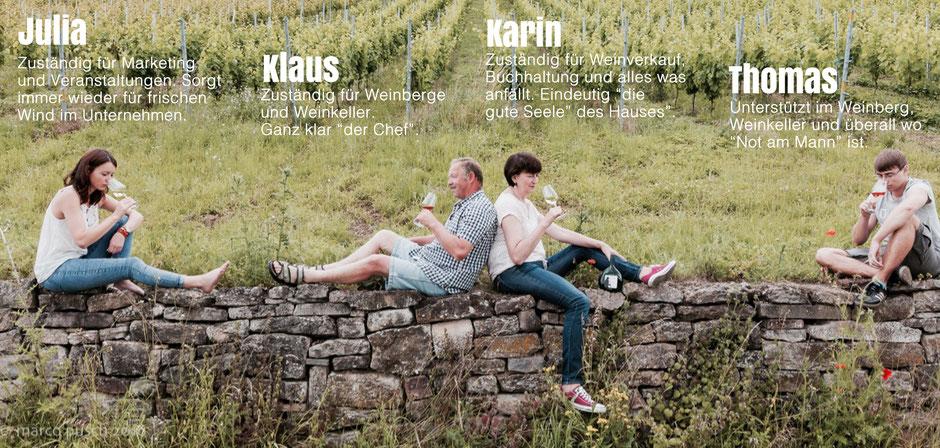 Julia, Klaus, Karin und Thomas Schäfer • Schäfers Weingut, Untererthal • Franken Hammelburg