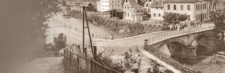 Die Diemelbrücke in Carlshafen um 1910/15 - Kartenausschnitt