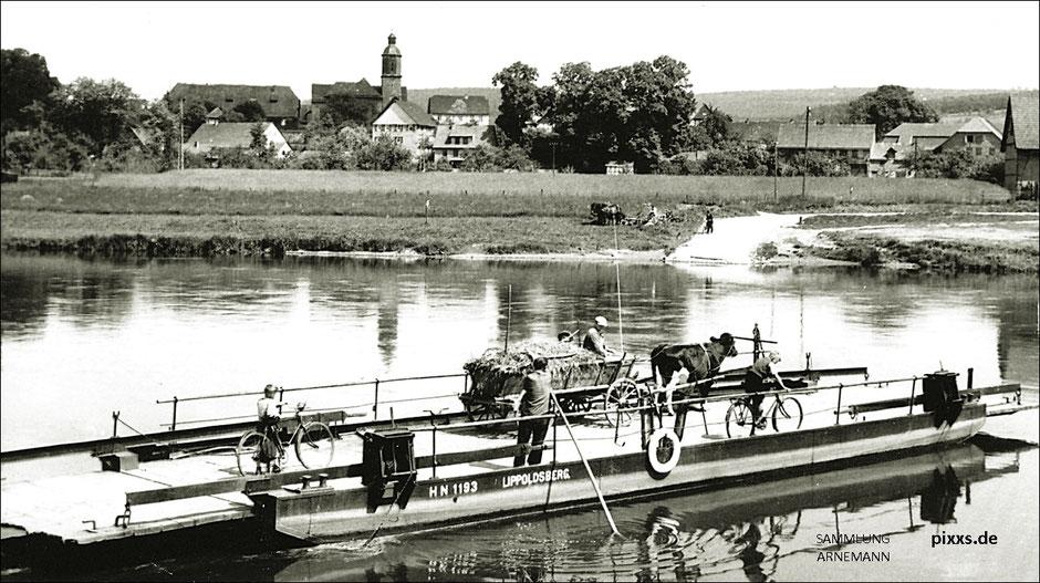 Fähre über die Weser bei Lippoldsberg (Ansichtskarte der 1920er Jahre, Verlag Landau, Kassel)