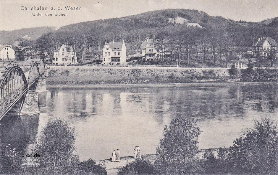 """Die Weserbrücke von Carlshafen um 1910/15, fotografiert von Otto Liebert mit den neuen Villen """"Unter den Eichen"""""""