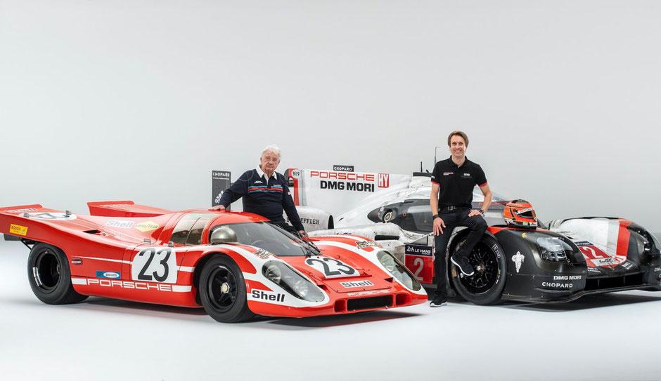 Hans Herrmann, Le-Mans-Sieger 1970, und Timo Bernhard, bislang letzter Porsche-Le-Mans-Gesamtsieger