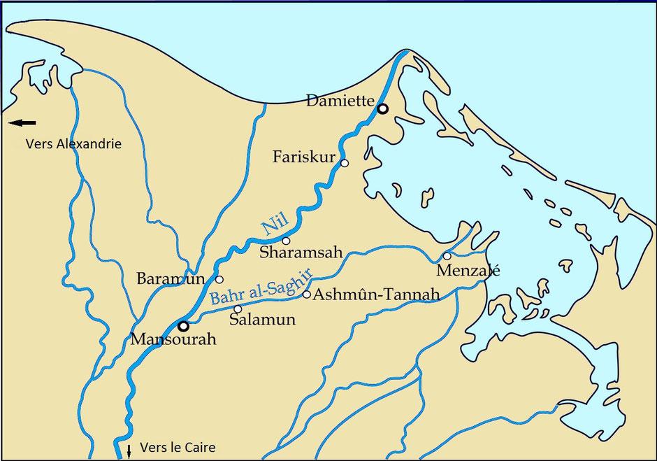 carte des lieux cités lors de la septième croisade