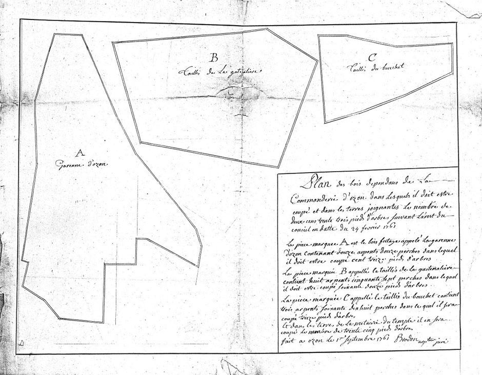 1761 – Brodon – Plan des bois de la commanderie d'Auzon