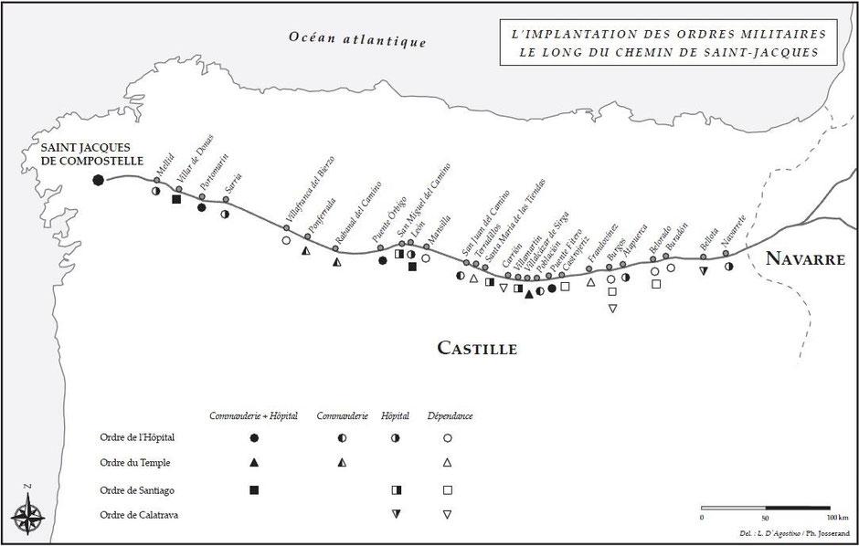 Carte montrant l'implantation des ordres militaires le long du chemin vers Saint Jacques de Compostelle