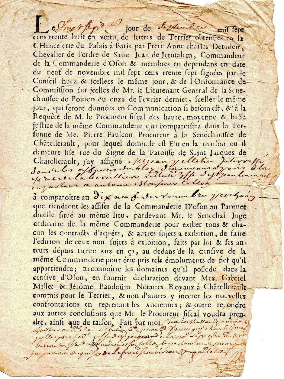 1738 – Assignation pour la Bercillière (Original)