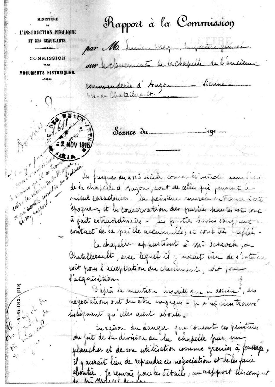 Rapport à la commission des monuments historiques - 1913