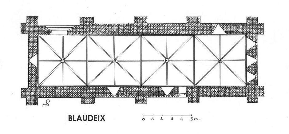 Plan de l'église templière de Blaudeix