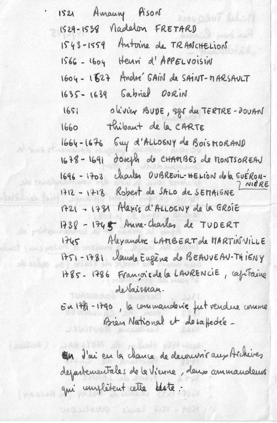 Recherches Michel Turquois aux Archives de la Vienne - 1965