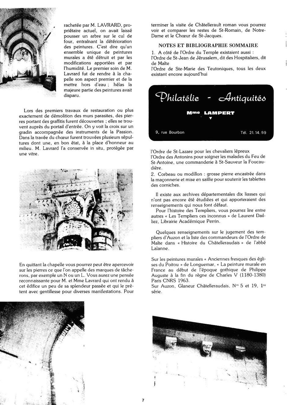 Le Glaneur Châtelleraudais – n° 52 – La commanderie d'Auzon - 1978 p.7