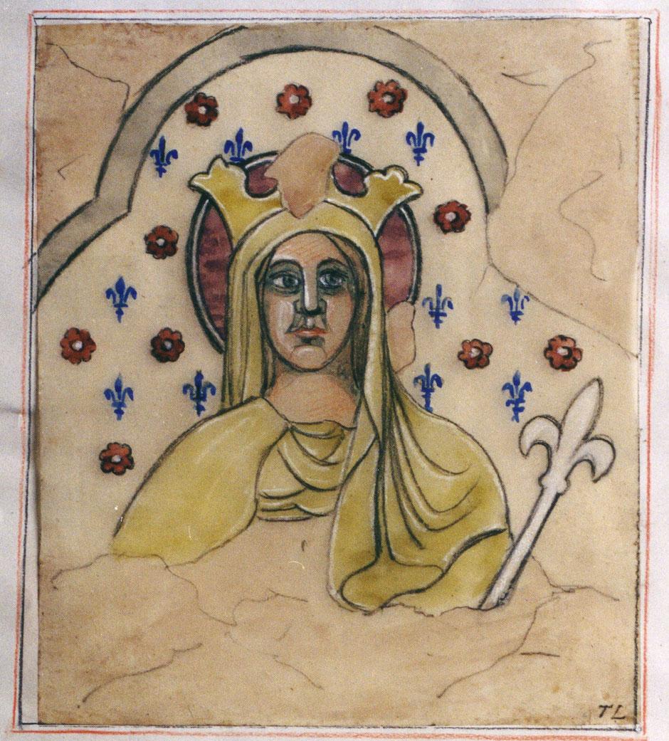 A. Touzé de Longuemard - Relevé de la fresque de Sainte Radegonde chapelle d'Auzon - 1881 - BN