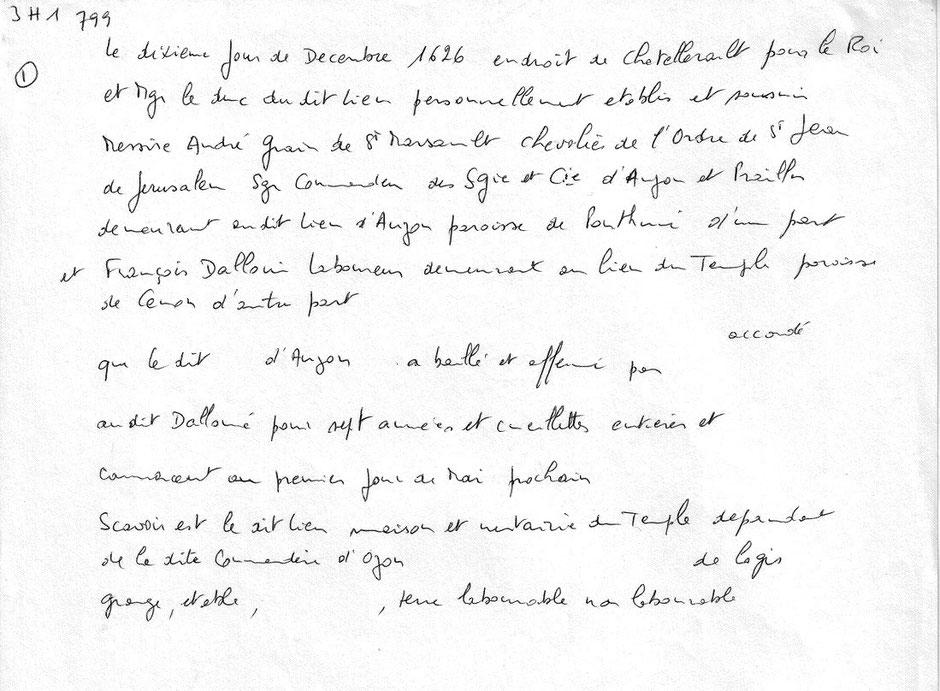 Relevé 3H1 799 Archives de la Vienne 1626 Vélaudon