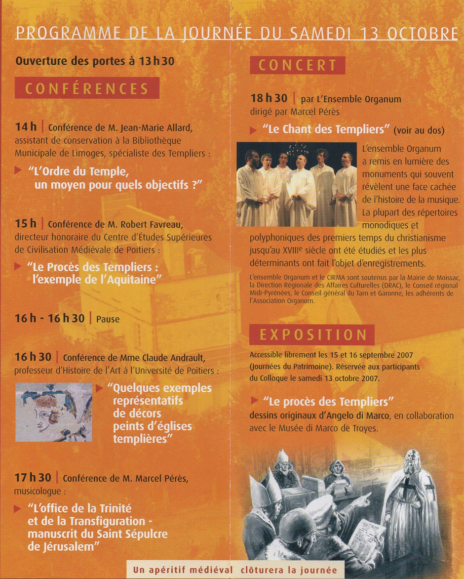 Programme du colloque 2007 de l'association Guillaume de Sonnac