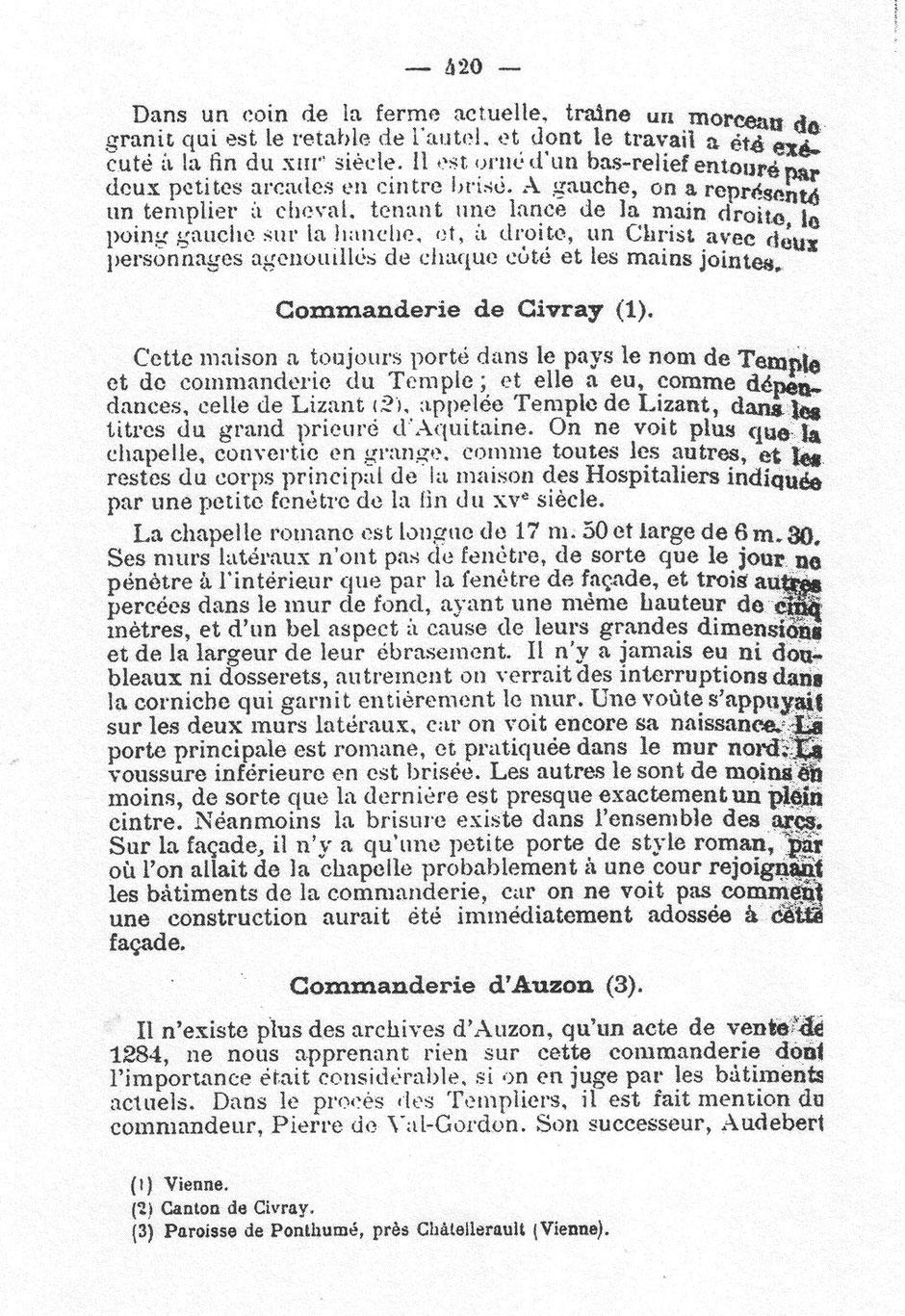 Rochebrochard - Revue Poitevine et Saintongeaise - T VI - Etude sur quelques commanderies des Templiers d'Aquitaine - 1889 p.420