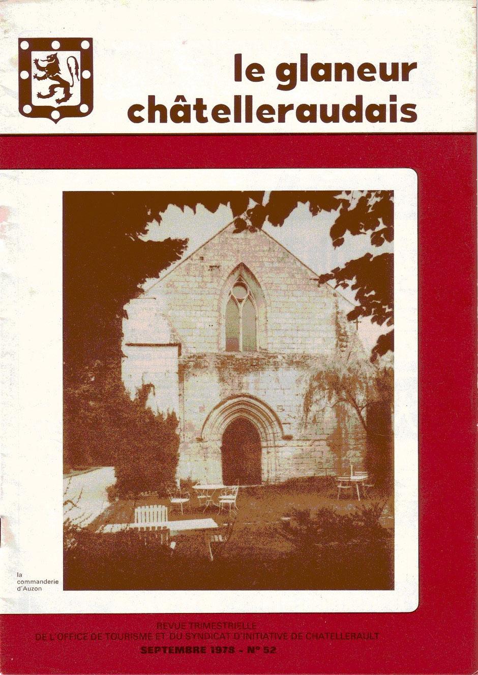 Le Glaneur Châtelleraudais – n° 52 – La commanderie d'Auzon - 1978 - couverture montrant la façade de la chapelle de la commanderie d'Auzon