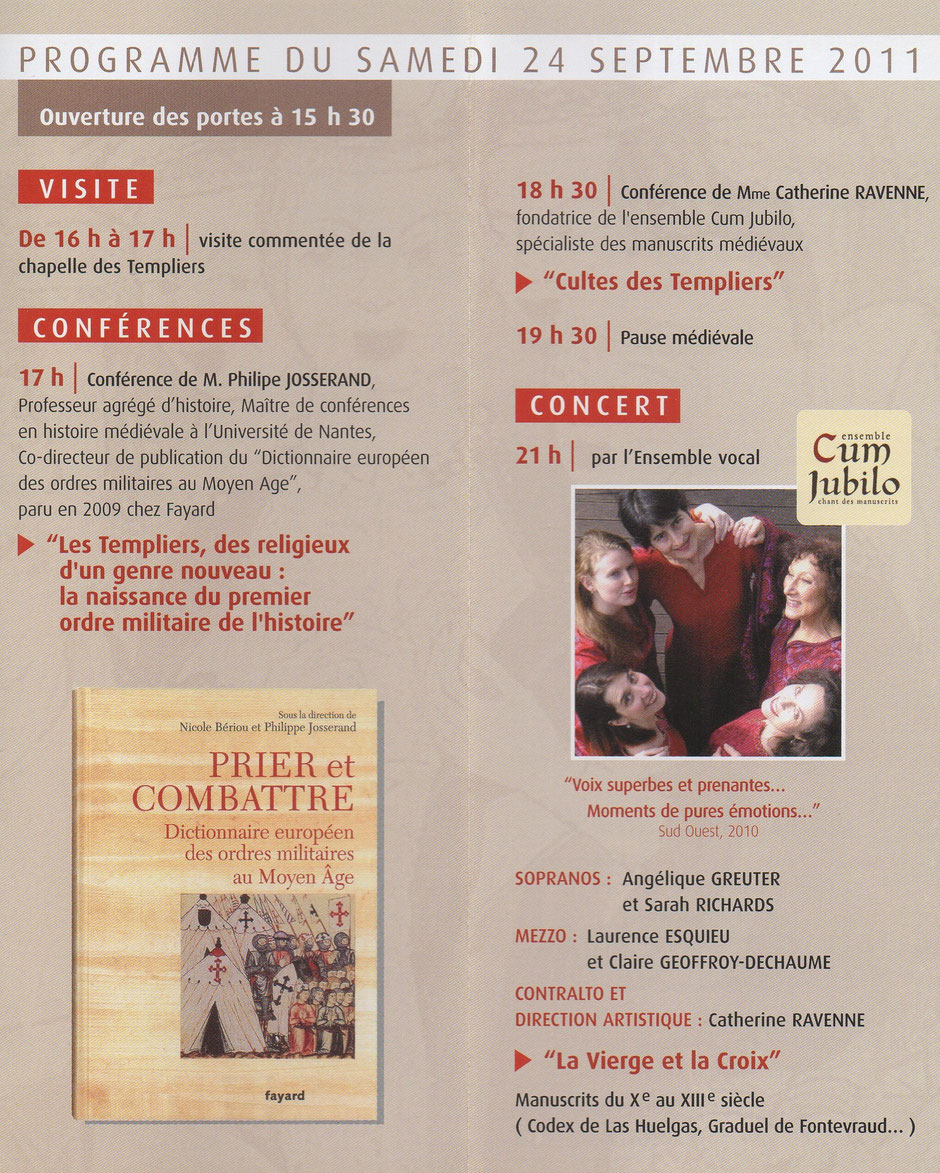 Programme du colloque 2011 de l'association Guillaume de Sonnac