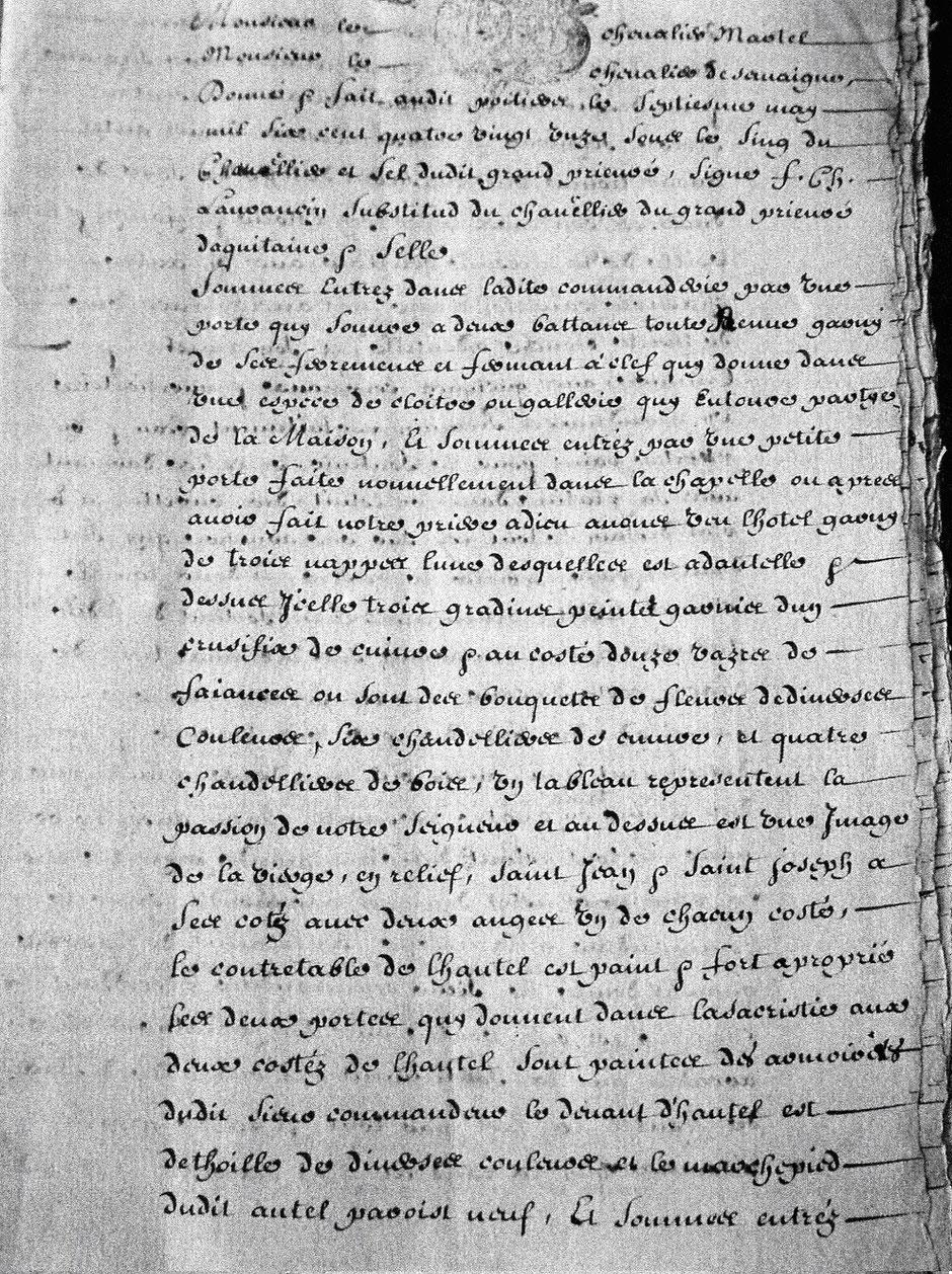 Visite de 1691 texte original manuscrit